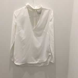 Deep v long sleeve blouse